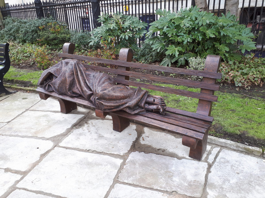 Liverpool bid company call for action to end homelessness with homeless Jesus statue outside parish church