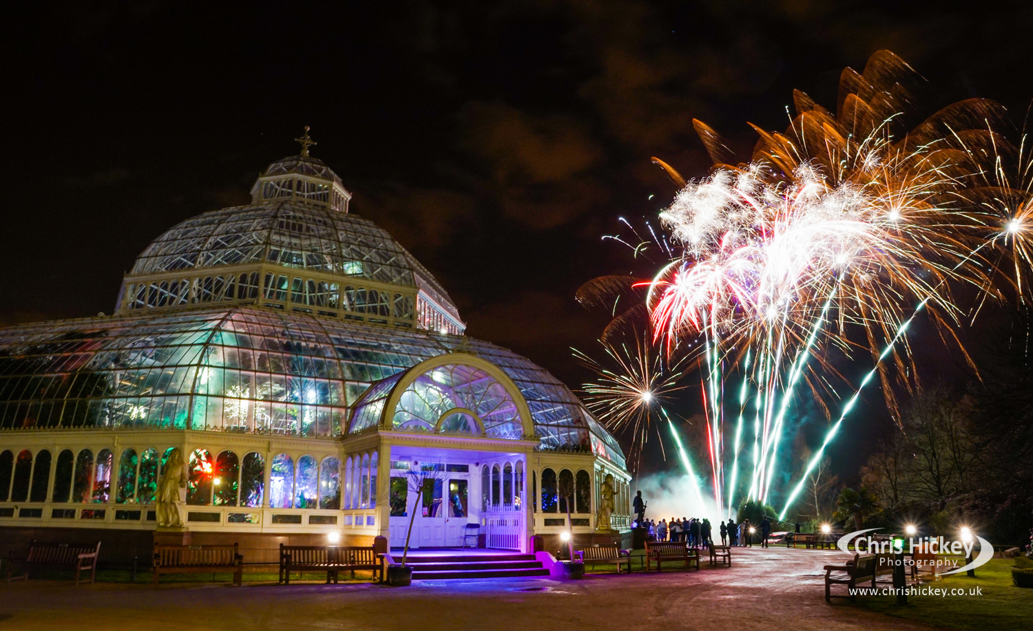 Sefton Park Palmhouse lights up with fireworks and pyro liverpool 2019