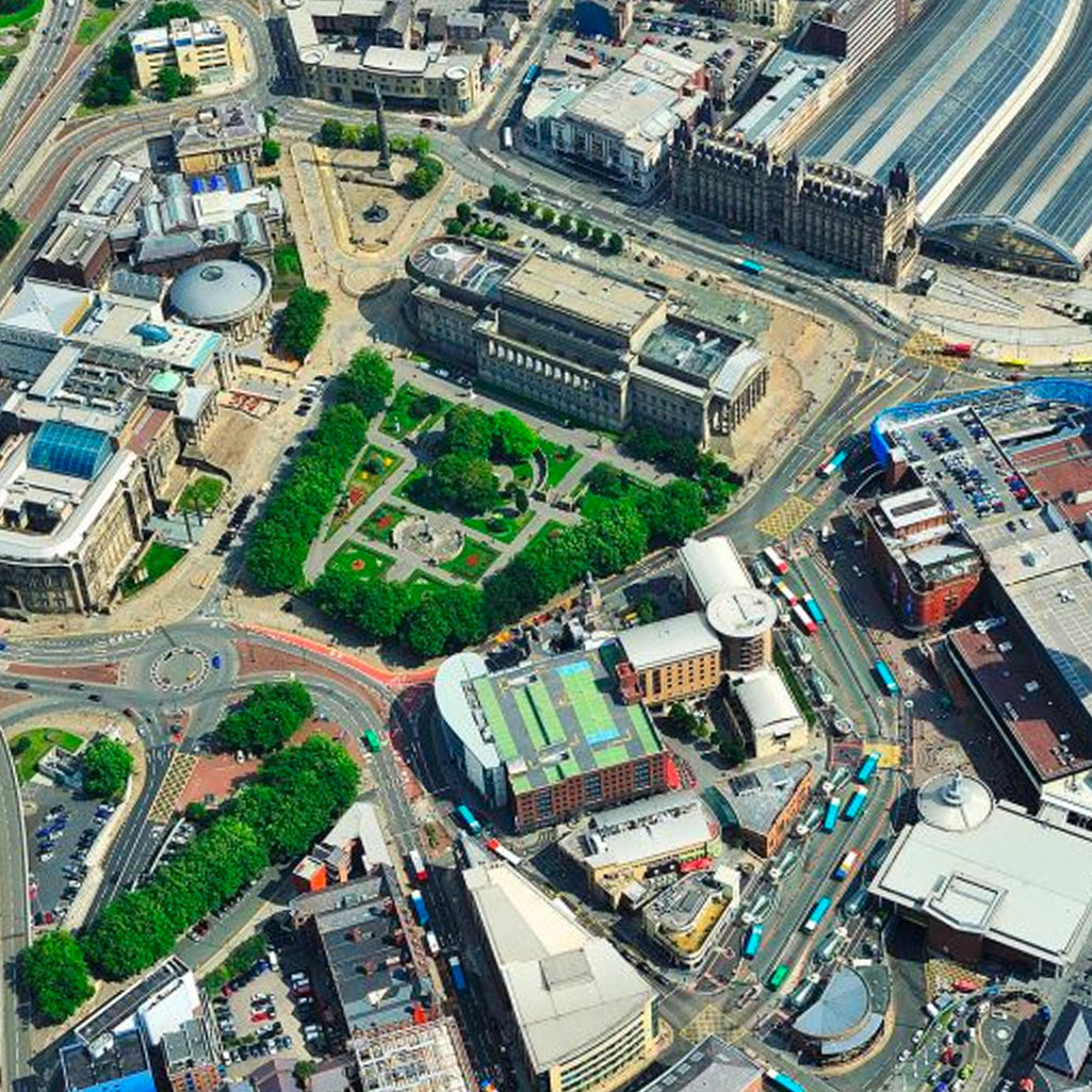 Drone aerial shot of St George's hall and gardens in Liverpool