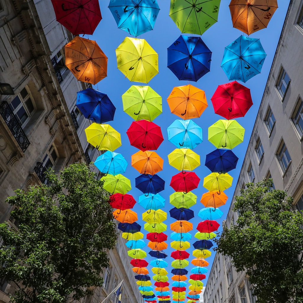 ADHD foundation umbrella project hangs above liverpool high street